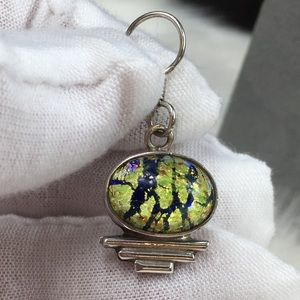 Vintage Jewelry - Sterling Silver Art Deco Dichroic Glass Mexico